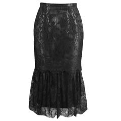 Versace Istante Vintage Leather & Lace Skirt