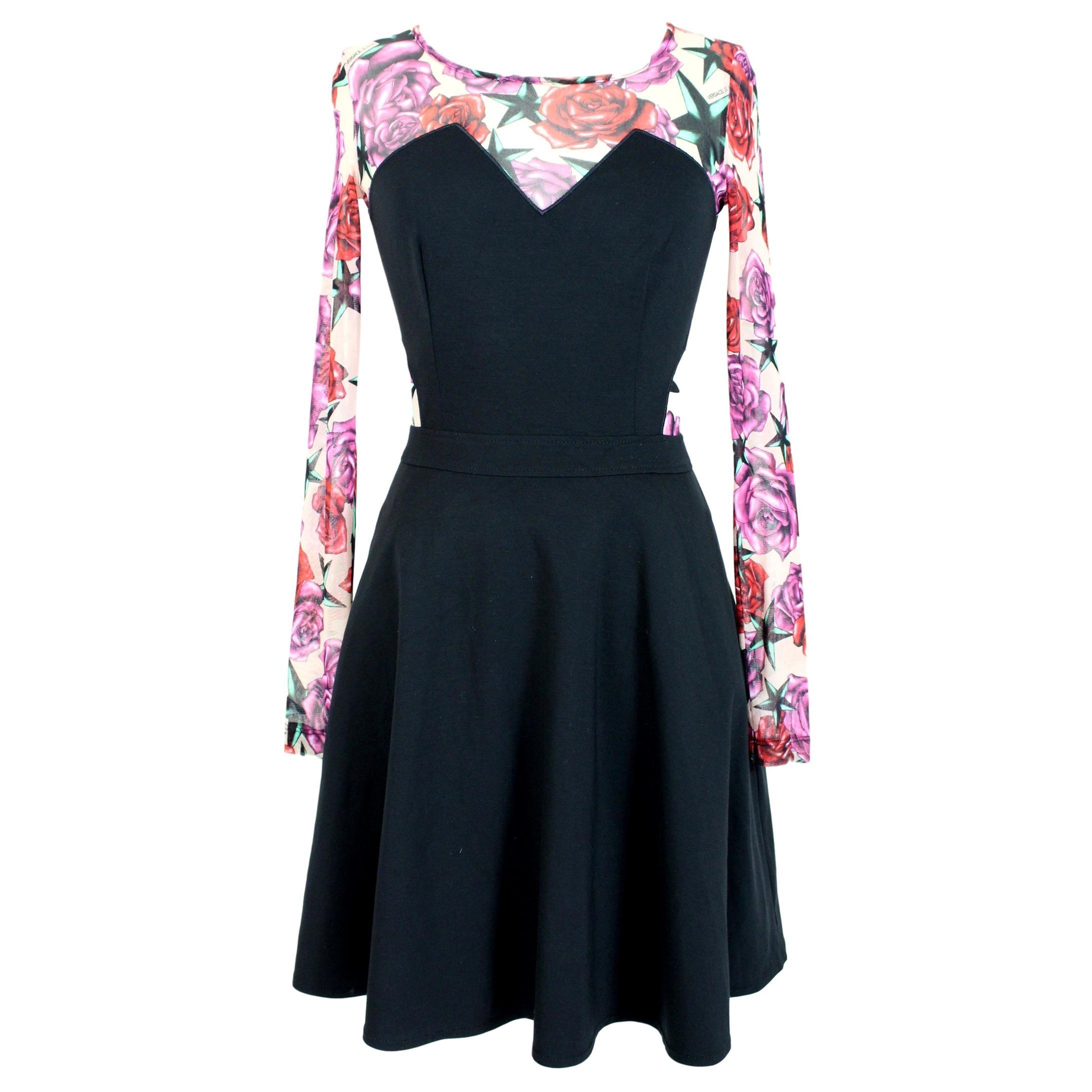 Versace Jeans Black Pink Floral Transparent Flared Short Cocktail Dress