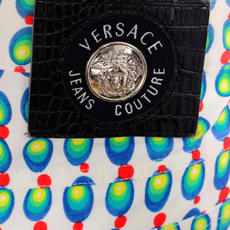 Versace Jeans Couture 90s Vintage Green Blue Red & White Abstract Circles Olives For Sale 8