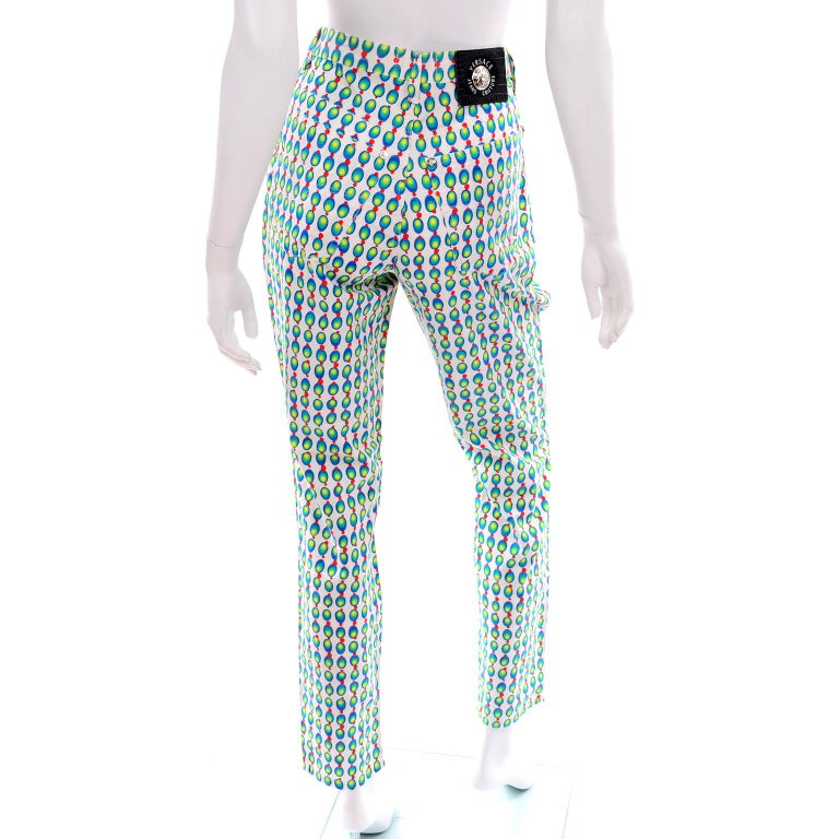 Versace Jeans Couture 90s Vintage Green Blue Red & White Abstract Circles Olives For Sale 1