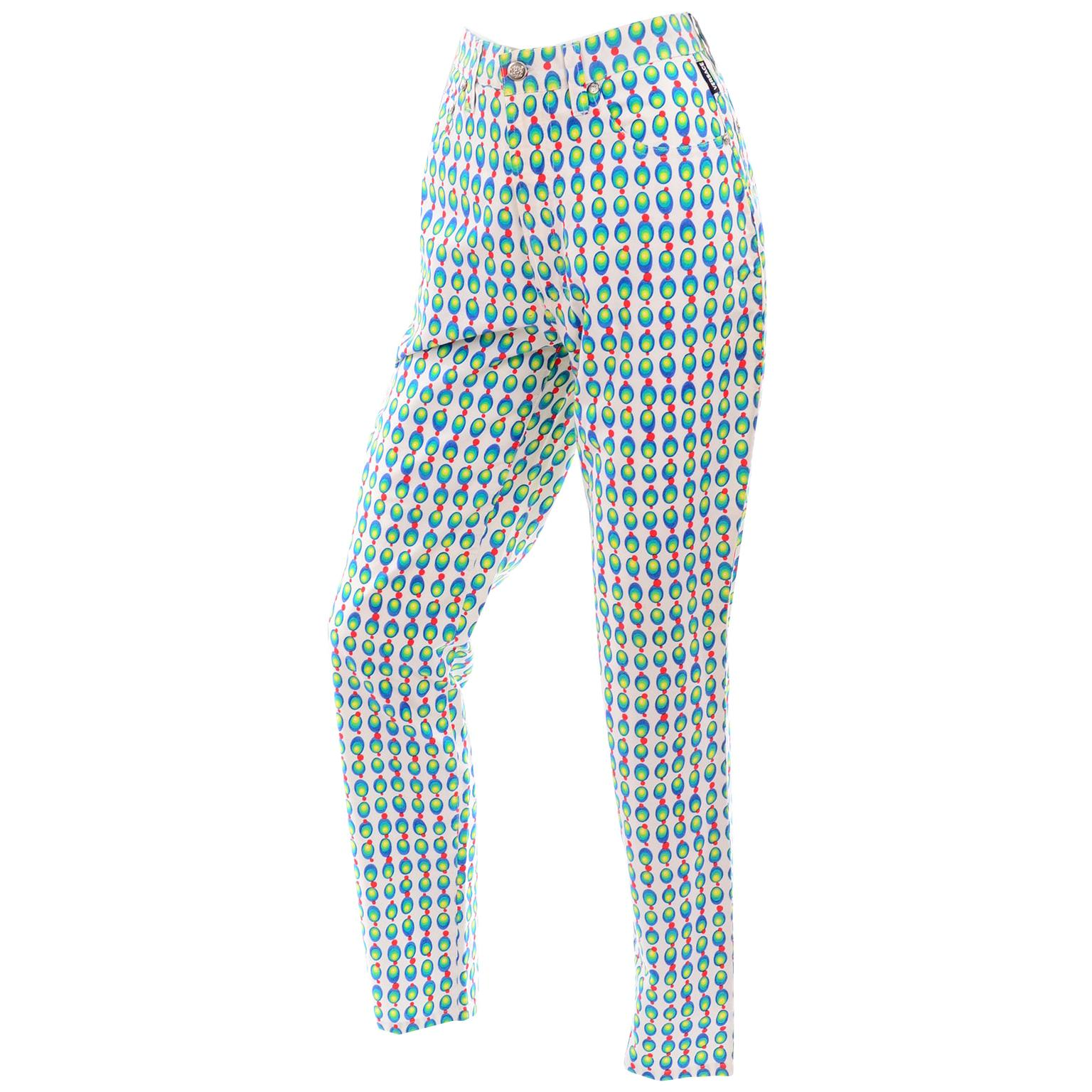 Versace Jeans Couture 90s Vintage Green Blue Red & White Abstract Circles Olives