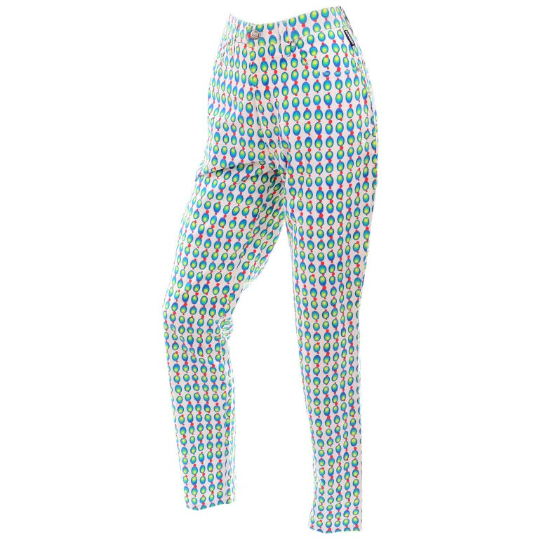 Versace Jeans Couture 90s Vintage Green Blue Red & White Abstract Circles Olives For Sale