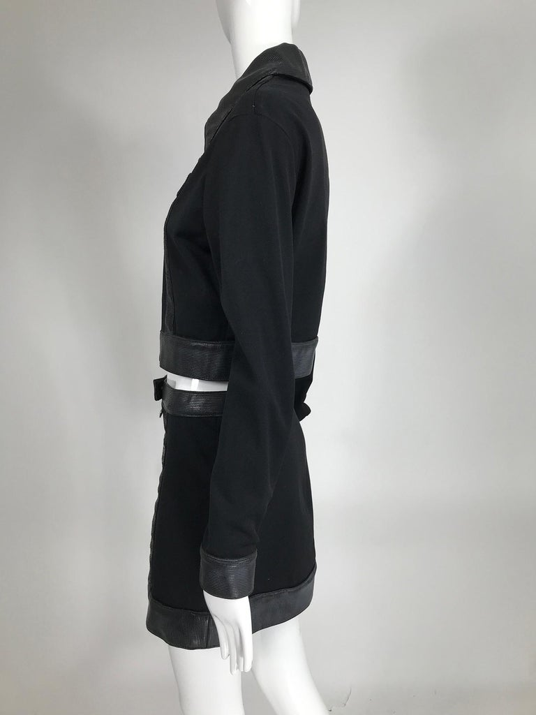 Versace Jeans Couture Black Vinyl & Stretch Fabric Jacket & Skirt 1990s For Sale 6