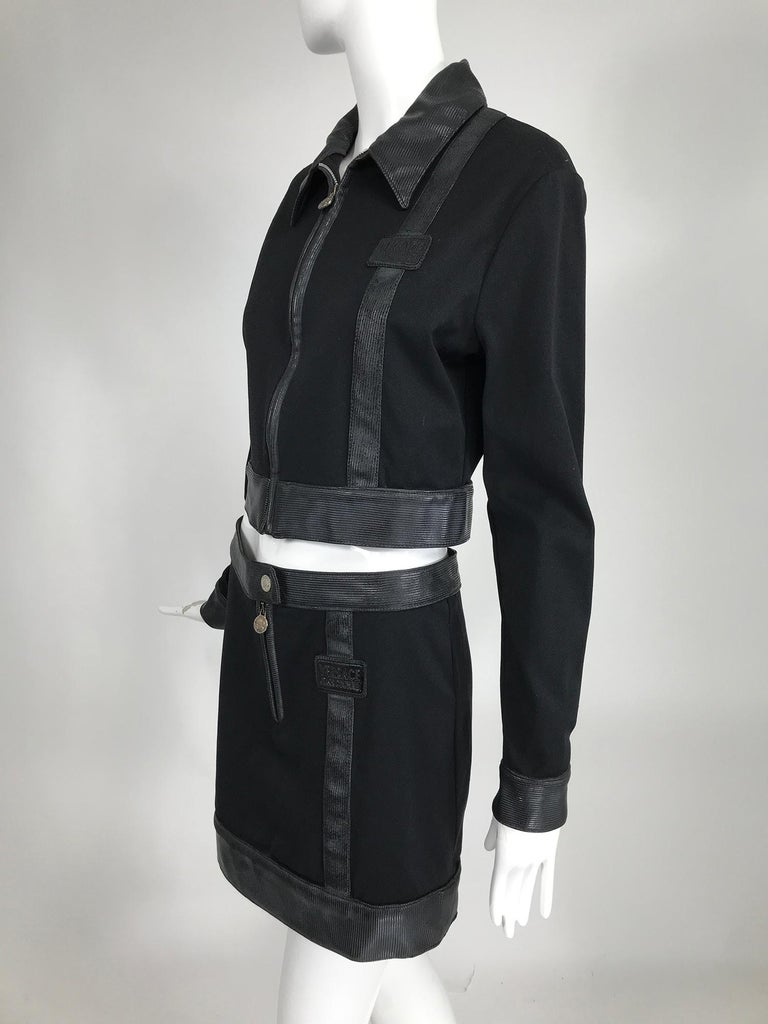 Versace Jeans Couture Black Vinyl & Stretch Fabric Jacket & Skirt 1990s For Sale 7