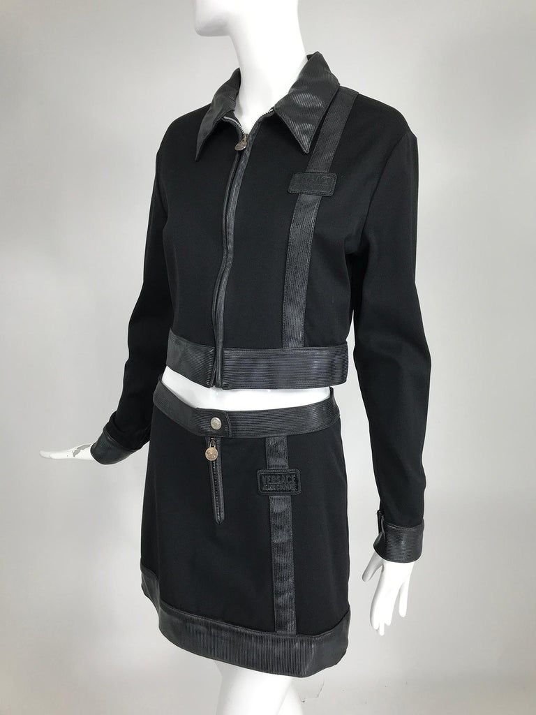 Versace Jeans Couture Black Vinyl & Stretch Fabric Jacket & Skirt 1990s For Sale 8