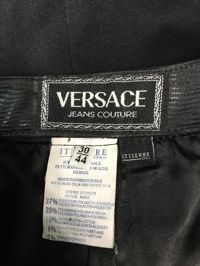 Versace Jeans Couture Black Vinyl & Stretch Fabric Jacket & Skirt 1990s For Sale 9
