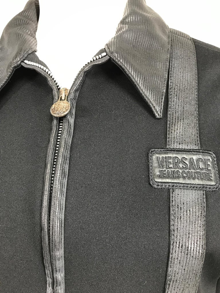Versace Jeans Couture Black Vinyl & Stretch Fabric Jacket & Skirt 1990s In Good Condition For Sale In West Palm Beach, FL