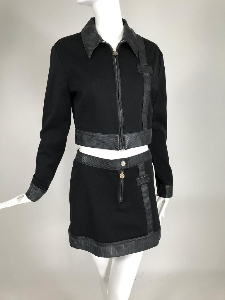 Women's Versace Jeans Couture Black Vinyl & Stretch Fabric Jacket & Skirt 1990s For Sale