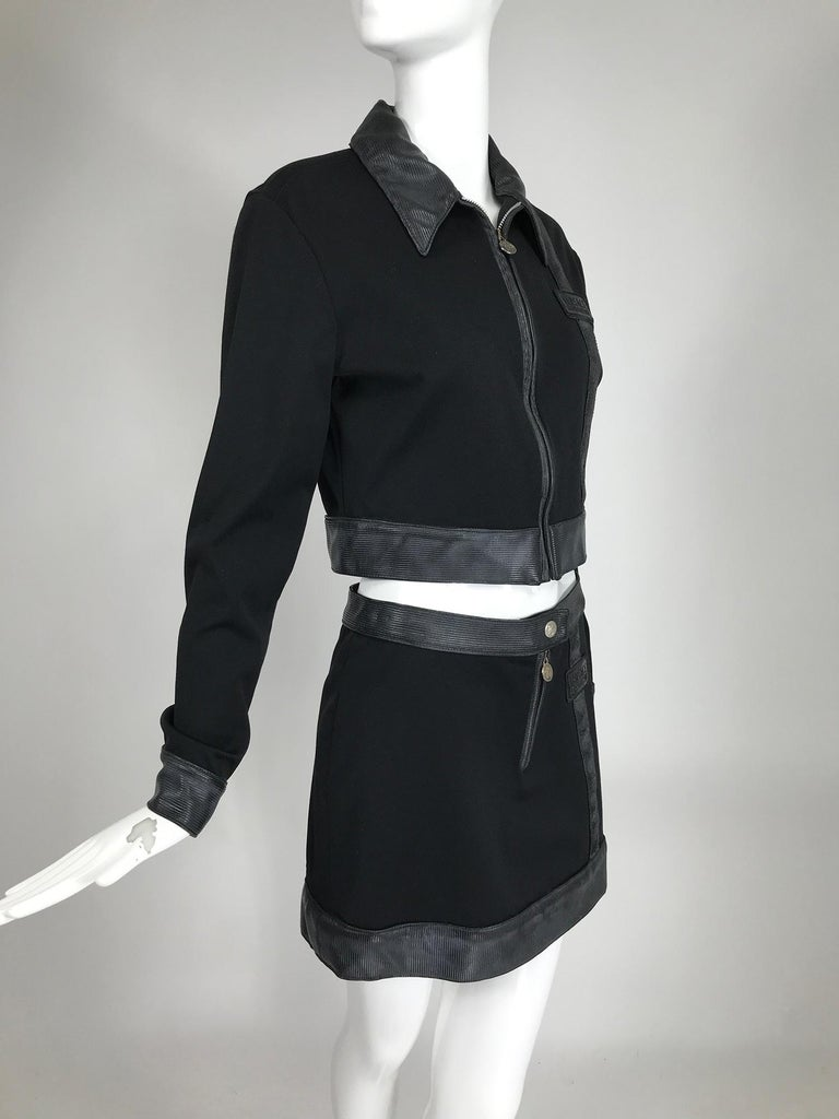 Versace Jeans Couture Black Vinyl & Stretch Fabric Jacket & Skirt 1990s For Sale 1