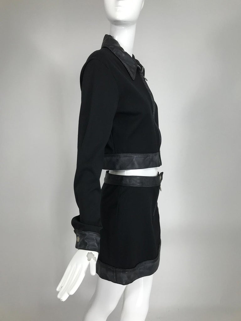 Versace Jeans Couture Black Vinyl & Stretch Fabric Jacket & Skirt 1990s For Sale 2