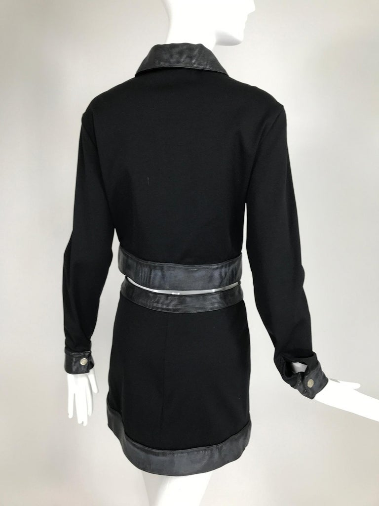 Versace Jeans Couture Black Vinyl & Stretch Fabric Jacket & Skirt 1990s For Sale 4