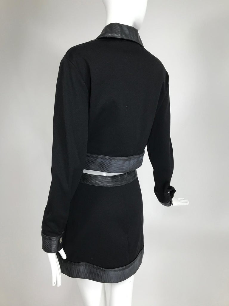 Versace Jeans Couture Black Vinyl & Stretch Fabric Jacket & Skirt 1990s For Sale 5