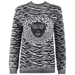 VERSACE Jeans Couture Black White Zebra Print Medusa Face Wool Crew Neck Sweater