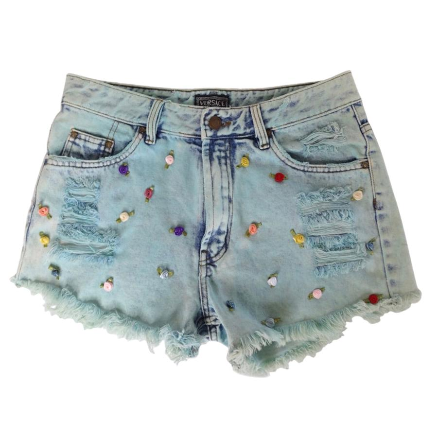 Versace Jeans Couture Cutoff Shorts with Rosettes