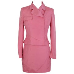 Versace Jeans Couture Pink Vintage Viscose Suit Skirt