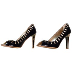 VERSACE JEANS COUTURE PUMPS In DARK NAVY BLUE with GOLD HEELS 36.5 - 6.5, 39 -9