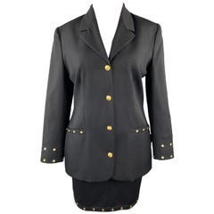 VERSACE JEANS COUTURE Size 10 Black Wool Gold Sun Studded Skirt Suit