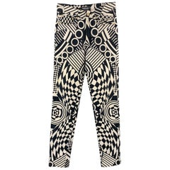 VERSACE JEANS Couture Size 28 Black & White Geometric Print Jeans