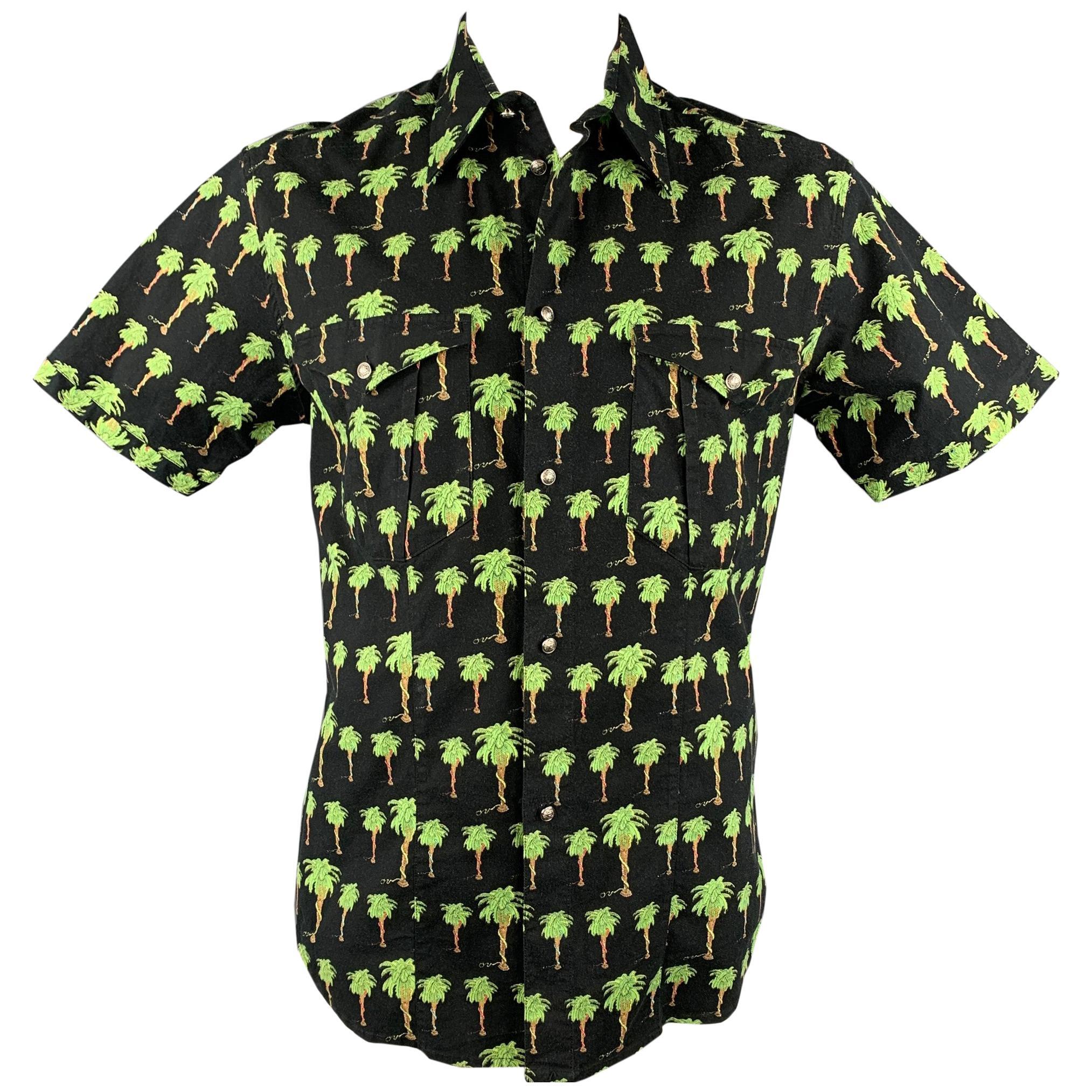 VERSACE JEANS COUTURE Size XXL Black & Green Palm Tree Print Cotton Shirt