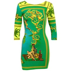 Versace Jeans Couture vintage 1990s stretch Tarzan & Jane jungle print dress
