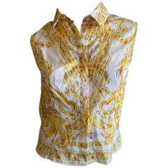 Versace Jeans Couture Vintage 80's  Baroque Print Sleeveless Cotton Top