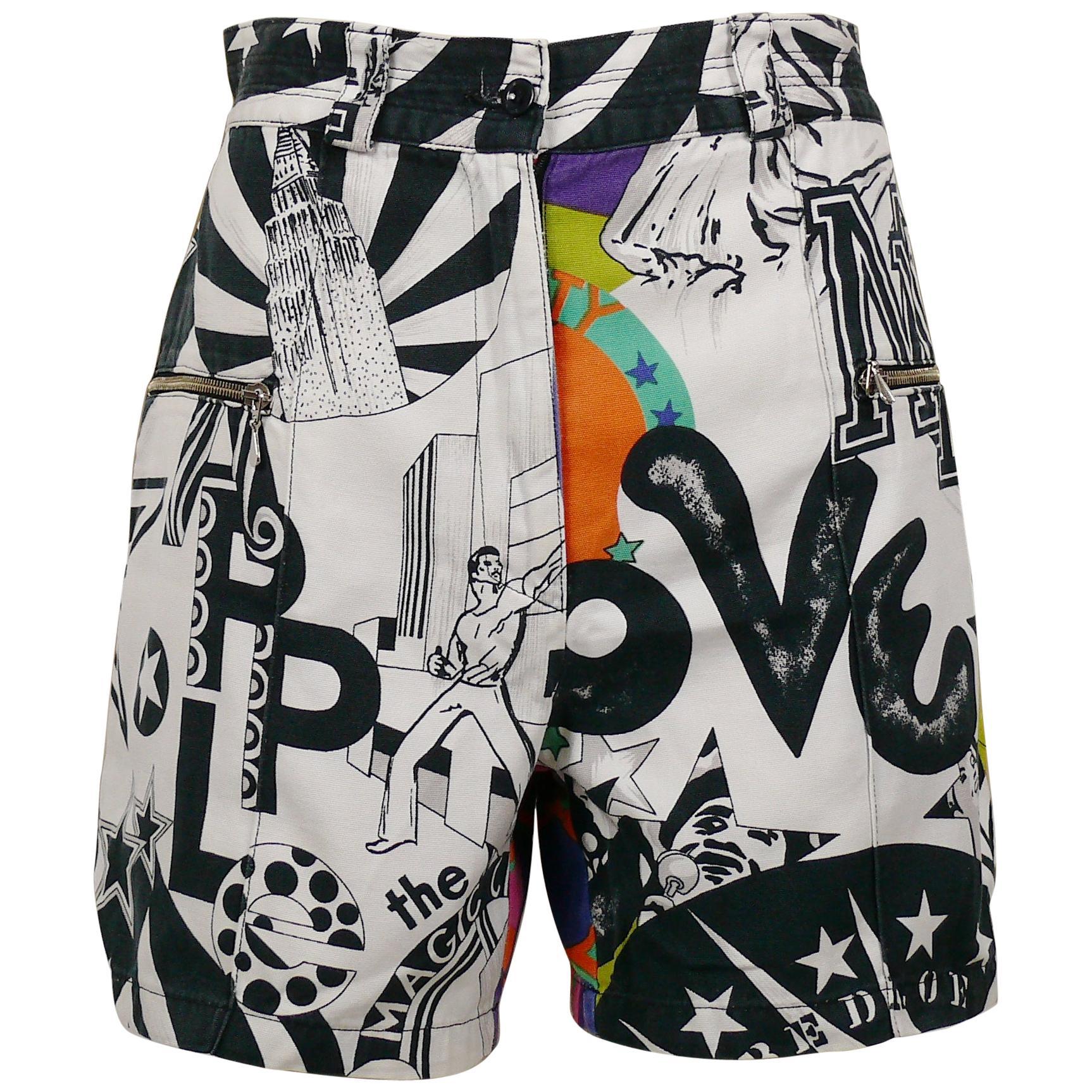 Versace Jeans Couture Vintage Manhattan New York City Graffiti Prints Shorts