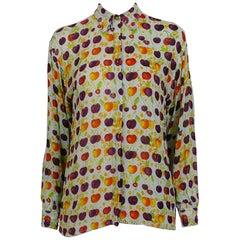 Versace Jeans Couture Vintage Multicolour Cherry Print Semi Sheer Blouse Size S