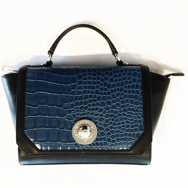 Versace Jeans Crocodile Embossed Top Handle Trapeze Shoulder Bag   Handbag  For Sale 2 1c6ef33229
