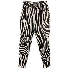 VERSACE JEANS SIGNATURE Size 28 Black & White Zebra Print High Rise Jeans