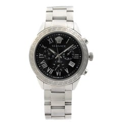 Versace Landmark Steel Black Roman Dial Quartz Men's Watch P6C99GD008 S099