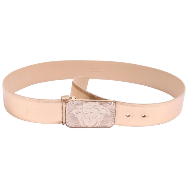 Versace Leather Belt - gold For Sale