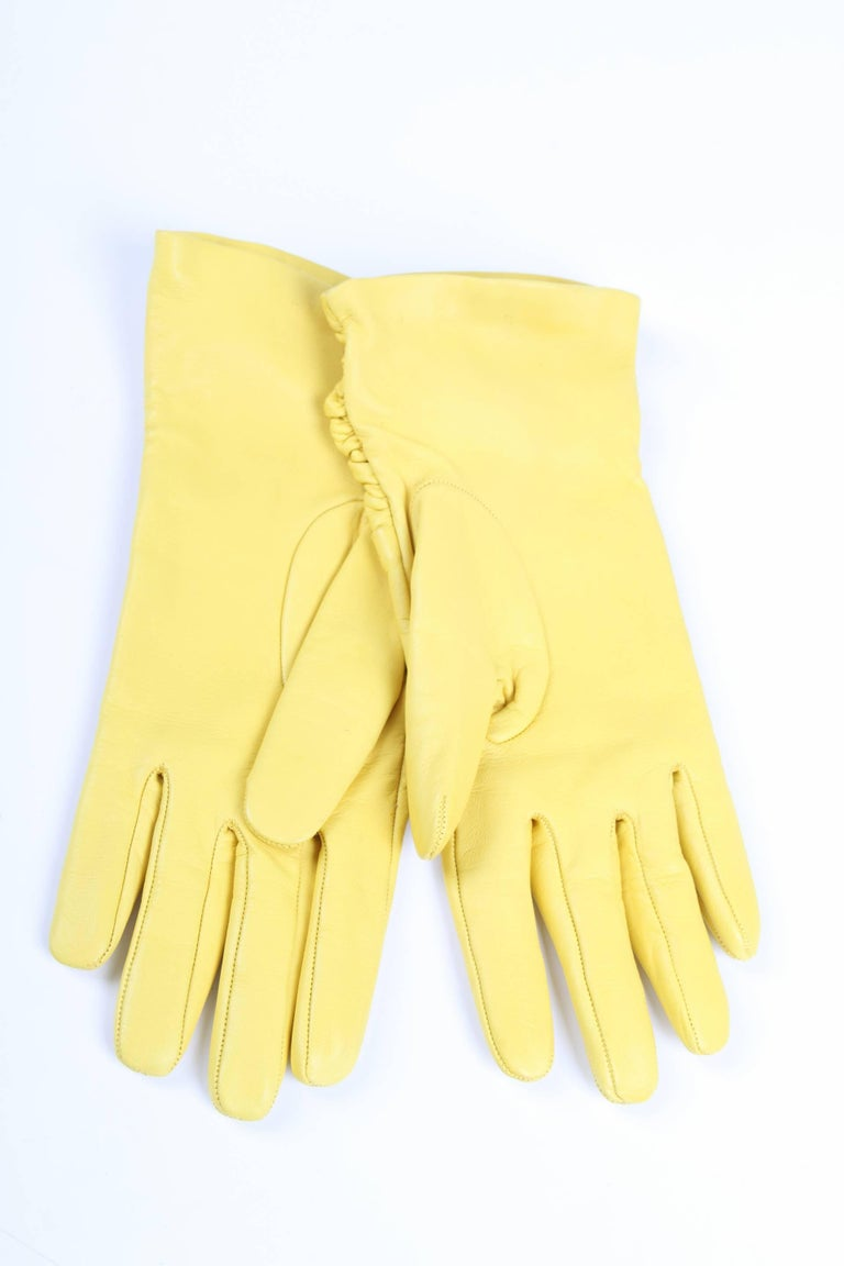 Women's Versace Leather Gloves - yellow For Sale