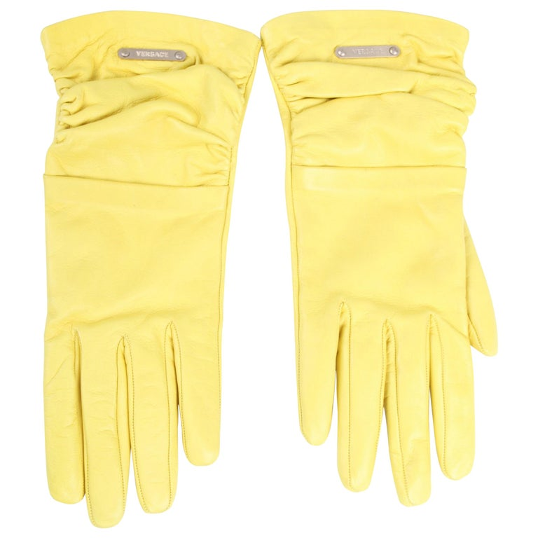 Versace Leather Gloves - yellow For Sale