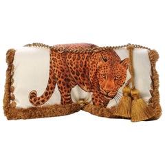 Versace Leopard Print Pillow Talk Shoulder Bag with Detachable Gold Tone Chain