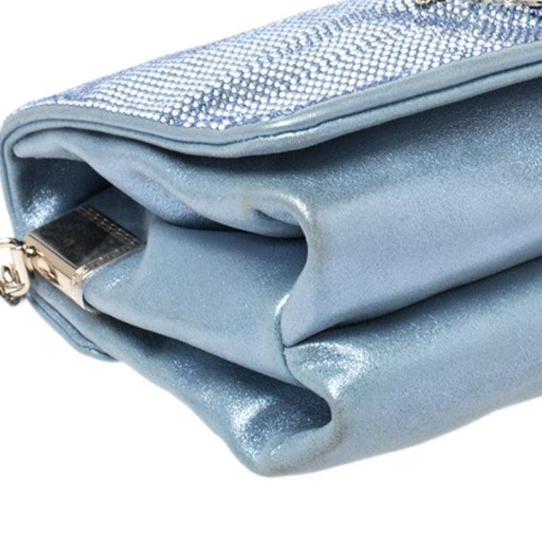 Versace Light Blue Crystal Embellished Shimmer Leather Sultan Shoulder Bag For Sale 6