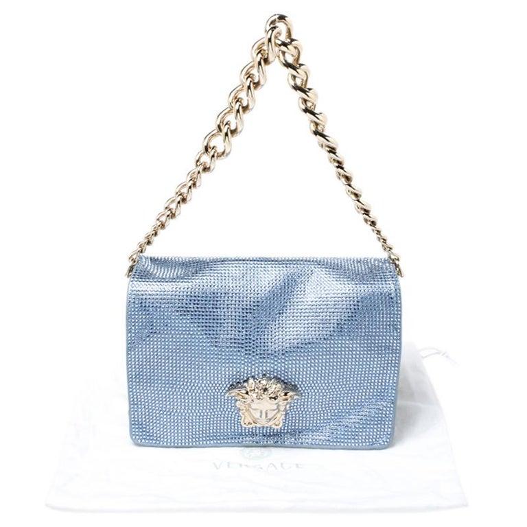 Versace Light Blue Crystal Embellished Shimmer Leather Sultan Shoulder Bag For Sale 7