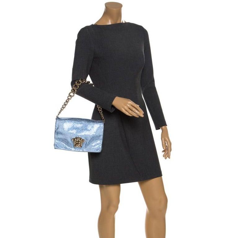 Versace Light Blue Crystal Embellished Shimmer Leather Sultan Shoulder Bag In Good Condition For Sale In Dubai, Al Qouz 2