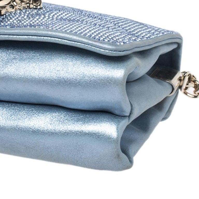 Women's Versace Light Blue Crystal Embellished Shimmer Leather Sultan Shoulder Bag For Sale
