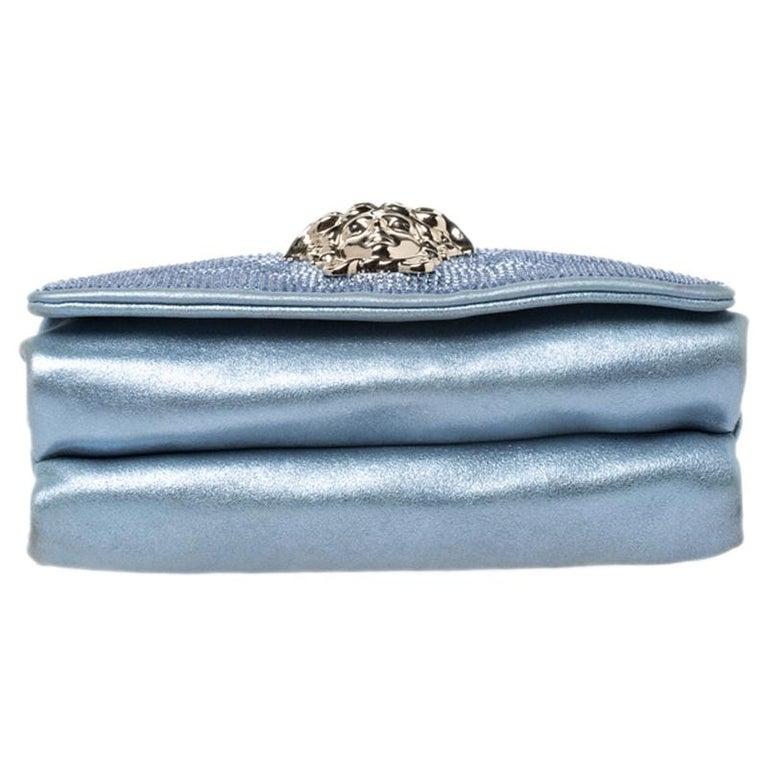 Versace Light Blue Crystal Embellished Shimmer Leather Sultan Shoulder Bag For Sale 1