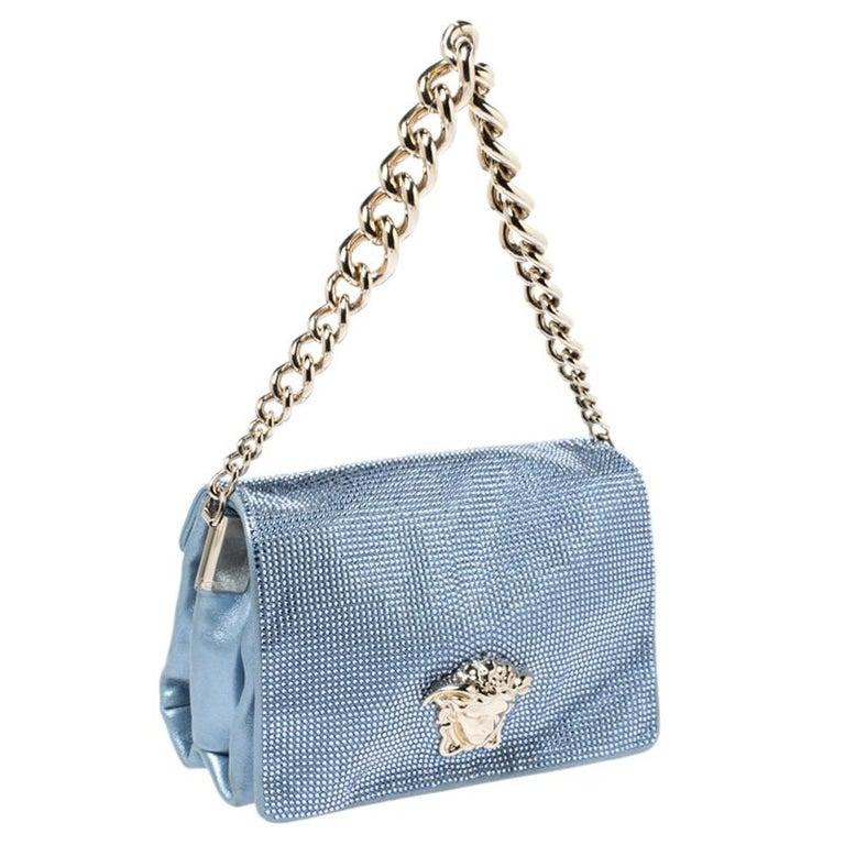 Versace Light Blue Crystal Embellished Shimmer Leather Sultan Shoulder Bag For Sale 2