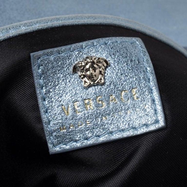 Versace Light Blue Crystal Embellished Shimmer Leather Sultan Shoulder Bag For Sale 3