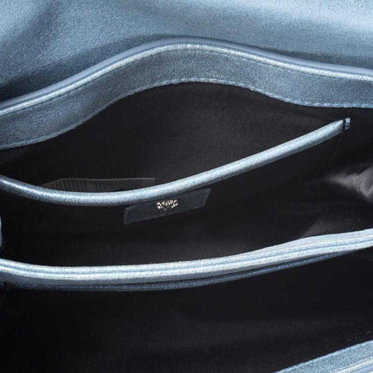 Versace Light Blue Crystal Embellished Shimmer Leather Sultan Shoulder Bag For Sale 4