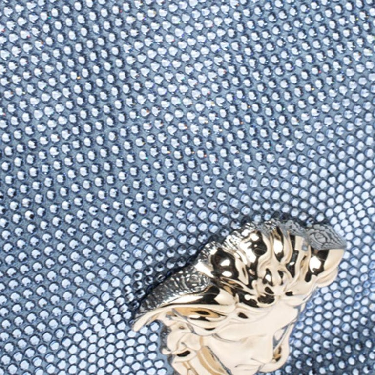 Versace Light Blue Crystal Embellished Shimmer Leather Sultan Shoulder Bag For Sale 5