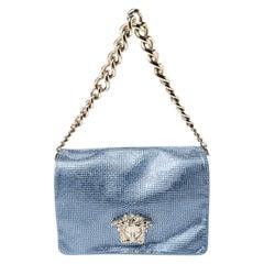 Versace Light Blue Crystal Embellished Shimmer Leather Sultan Shoulder Bag