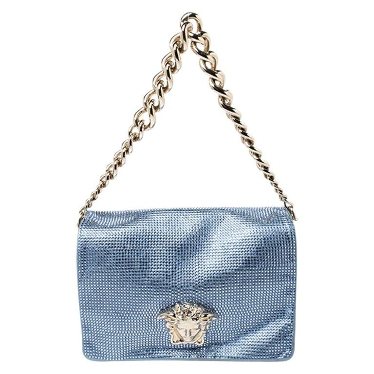 Versace Light Blue Crystal Embellished Shimmer Leather Sultan Shoulder Bag For Sale