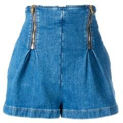 Versace Light Blue Denim Zip-Up High Waisted Jean Shorts Size 27