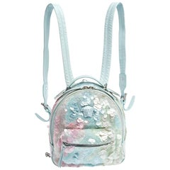 Versace Light Blue Suede and Leather Embellished Sequin Palazzo Medusa Backpack
