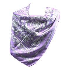 Versace Lilac Silk Twill Scarf