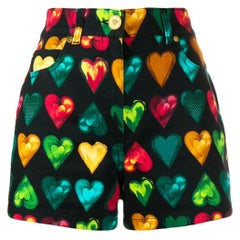 "Versace ""Love Versace"" Multicolored Hearts Print Denim High Waisted Shorts SZ 26"