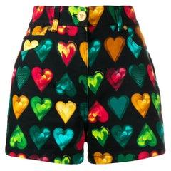"Versace ""Love Versace"" Multicolored Hearts Print Denim High Waisted Shorts SZ 27"